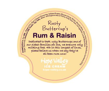 Rusty Buttercup's Rum and Raisin Ice Cream 500ml
