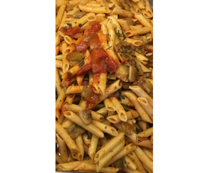Penne with aubergine and tomato sauce for 1 person