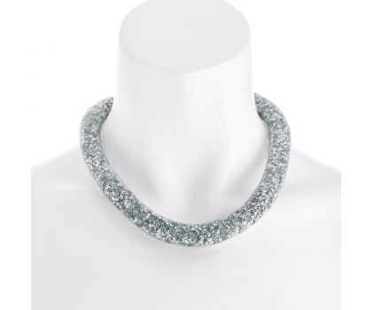 White net/silver colour crystal magnetic clasp necklace