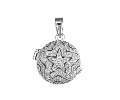 """Sterling Silver Round Locket With CZ Star and 18"""" Chain"""