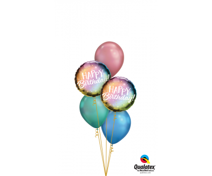 Ombre Birthday balloons, bunting and candles.