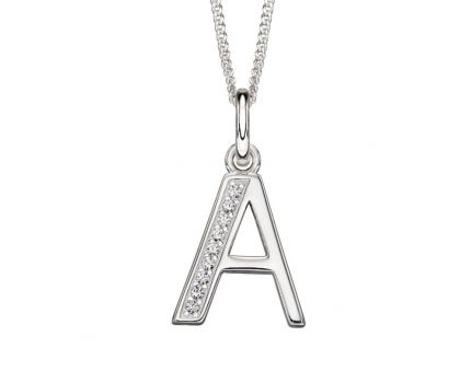 Sterling Silver Initial Necklace w/CZ  'A'