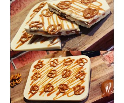 White chocolate slab filled with salted caramel and pretzels.