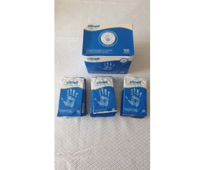PK100 CLINELL ANTIBACTERIAL HAND WIPES INDIVIDUALLY WRAPPED