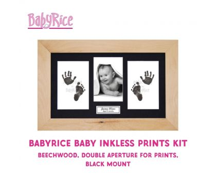 BabyRice Baby Inkless Prints Kit (Beechwood, Double, Black)