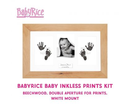 BabyRice Baby Inkless Prints Kit (Beechwood, Double, White)