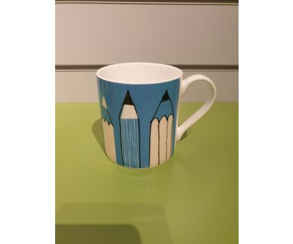 Repeat Repeat Mug with pencils design- Turquoise