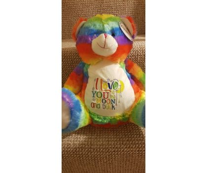 Bright Rainbow Teddy Bear - Personalised With Your Own Embroidered Name, Message or Quote