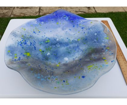 Coffee table dish in blues and greys