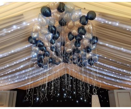 Single helium latex balloons with ribbon attached