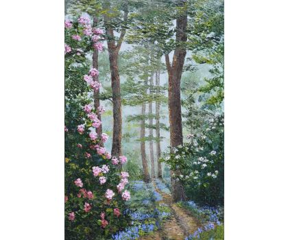 'Springtime Highlights of the Wooded Garden, Harlow Carr'. Original oil painting by David Starley
