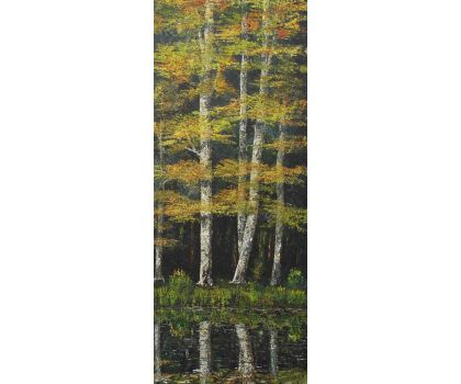 'Lakeside Birches 2'. Original oil painting by David Starley