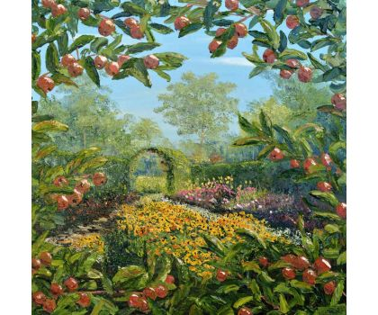 'Through the Apple Hedge: Harlow Carr Kitchen Garden'. Original oil painting by David Starley