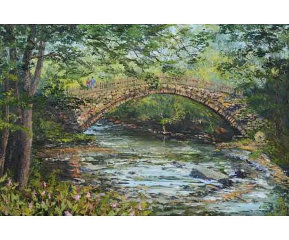 'Beckfoot Packhorse Bridge: Built for a Tenner Three Hundred Years Ago'. Original oil painting by David Starley