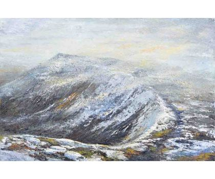 'In Wainwright's Footsteps: Swirl How from Great Carrs, Lake District'. Original oil painting by David Starley