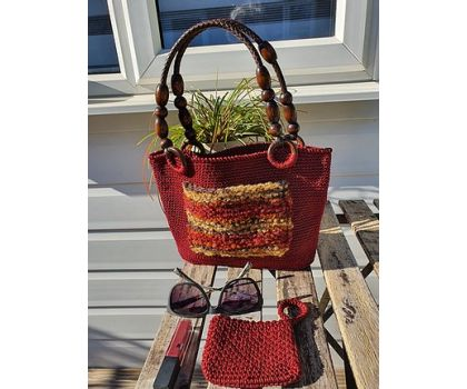 Wooden Handle Multi Colour pocket crochet Handbag