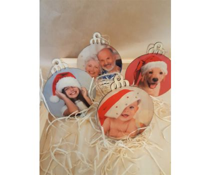 Personalised Wooden Photo Baubles Set of 4