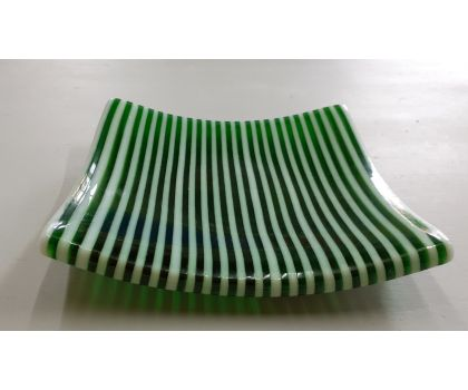 Green and White Stripey Plate