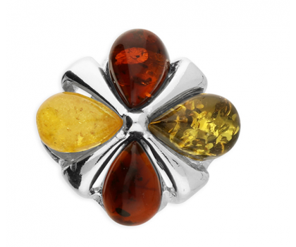 """Sterling Silver and Amber Flower Pendant with 18"""" Sterling Silver Chain"""