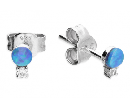 Sterling Silver and Synthetic Opal Earrings