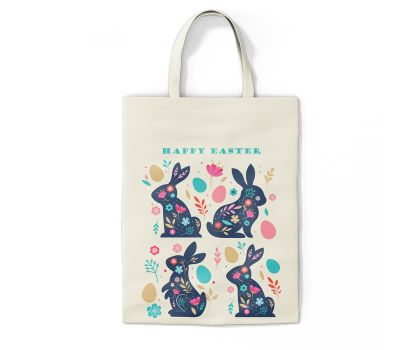 Happy Easter Ornate Bunny Tote Bag