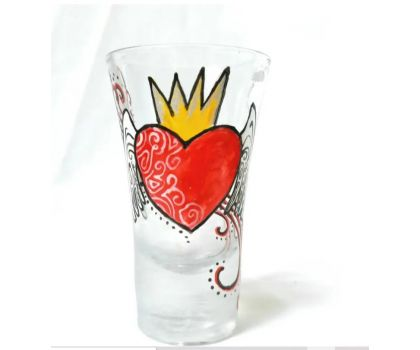 Handpainted heart and wings rockabilly shot glass