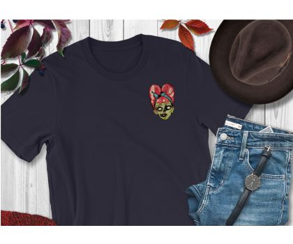Personalised Embroidered Pin-up Rockabilly Zombie Head T-shirt