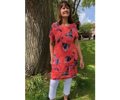 Made In Italy -  Linen Tunic Dress - Coral