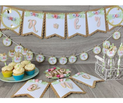 Rustic Flowers Personalised 1st Birthday Party set - small