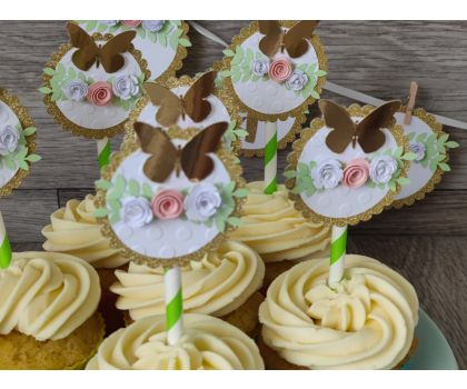 Rustic Flowers Cupcake toppers - small