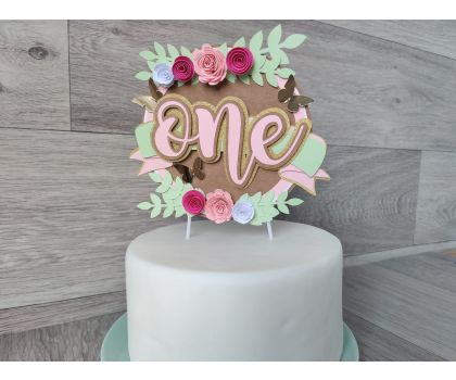Rustic Flowers Cake topper