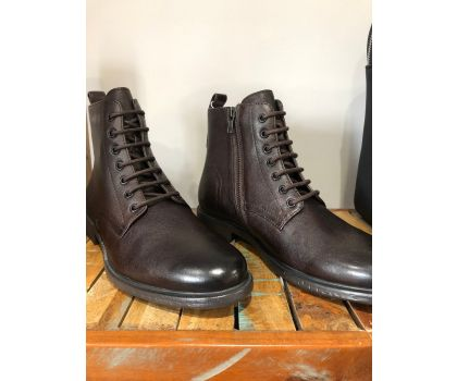 Geox Terence Leather Zip and Lace up Boot
