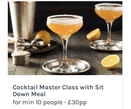 Cocktail Master Class with Sit Down Meal for min 10 people