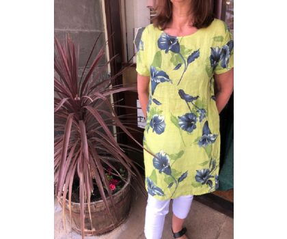 Made In Italy -  Linen Tunic Dress - Lime