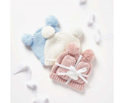 Katie Loxton Baby Hat & Mittens set - White, Pink or Blue