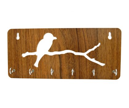 Wall Mounted wooden Key Holder Bird With Branch Shape