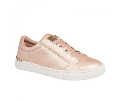'ALBERTA' Cipriata Range Rose Gold Pink Metallic Synthetic Lace up Glamour Trainer