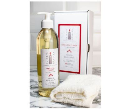 Clive's Candles, Oriental Fusion, Lemongrass & Ginger Hand & Body Wash, 400 mls, approximately 200 hand washes & over 70 showers