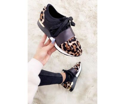 Leopard Faux Suede Trainers