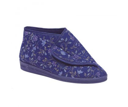 'ANDREA '  Floral Velcro Bootee Slipper