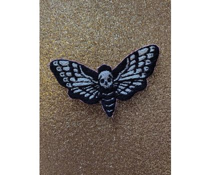 Death Head Moth iron-on patch or shoe lace patch