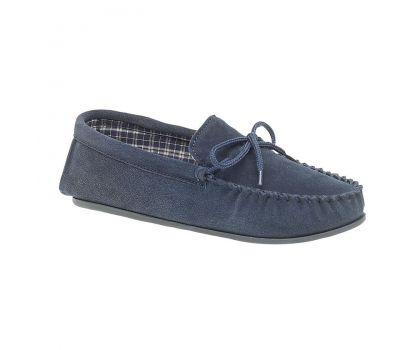 'BRUCE' Navy Blue Real Suede Moccasin Slipper