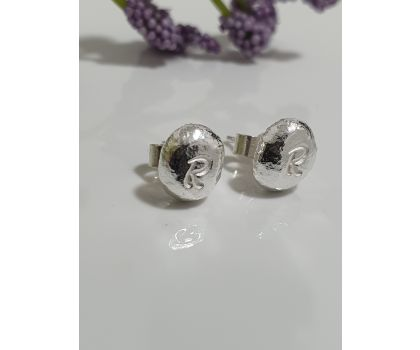 Pebble Stud Earrings with Initials