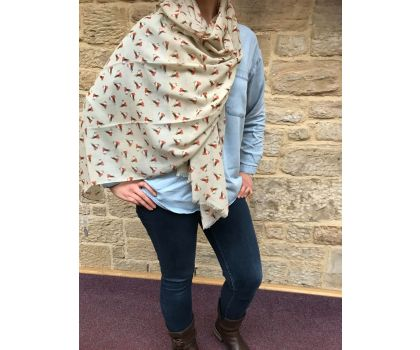 Scarf with robin design