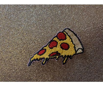 Pizza iron-on patch or shoe lace patch
