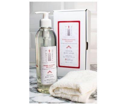 Clive's Candles, Pomegranate Delight, Pomegranate Plum & Cedarwood Hand & Body Wash, 400 mls, approximately 200 hand washes & over 70 showers