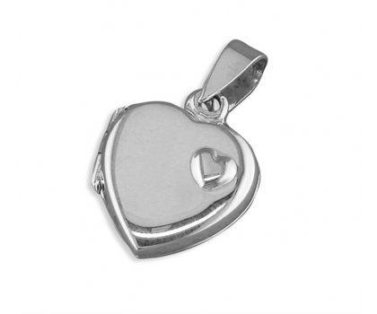 """Sterling Silver Mother and Daughter Heart Locket with 18"""" Chain"""