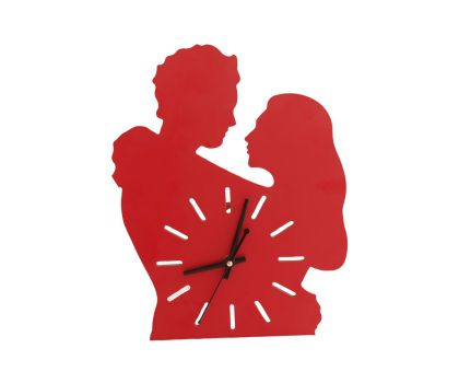 Wooden Wall Clock Red Colour Romantic Couple Shape