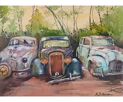 'Abandoned Cars' original watercolour by Rob Thomson RT06