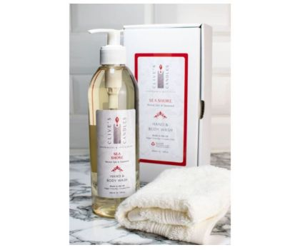 Clive's Candles, Sea Shore, Salt Wood & Seaweed Hand & Body Wash, 400 mls, approximately 200 hand washes & over 70 showers